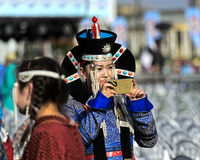 Woman in  traditional deel costume at the Mongolian National Costume Festival, Ulaanbaatar, Mongolia
