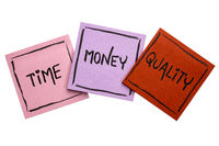 time, money, quality -sticky note set