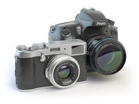 Digital cameras. Dslr and mirrorless stylized to retro vintage cameras isolated on white