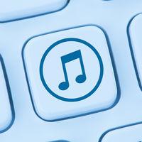 Musik hören downloaden Download runterladen herunterladen online Internet blau Computer web