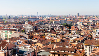 above view of city with Arena di Verona