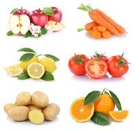 Obst und Gemüse Früchte Sammlung Äpfel, Orangen Tomaten Essen Freisteller