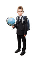 Pupil in business suit holding Earth globe and school backpack