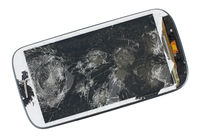 A broken screen of modern  phone. This device was wiped from a pneumatic gun.
