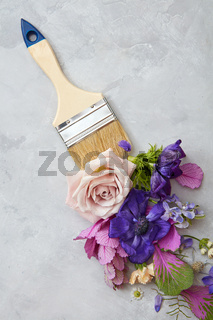 flowers and paint brush