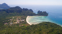 Aerial drone photo of Loh Lana Bay beach, part of iconic tropical Phi Phi island