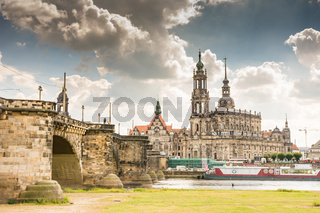 Historic Dresden at the river Elbe waterfront