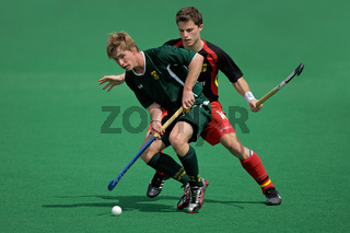 Mens field hockey action