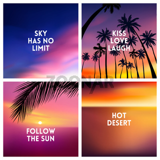 Summer tropical backgrounds set with palms, sky and sunset.