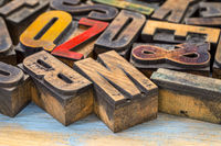 vintage letterpress wood type printing blocks