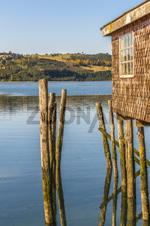 Palafito Houses at Lake, Chiloe, Chile