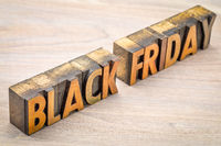 Black Friday banner in wood type