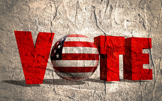 vote text, sphere instead letter O textured by USA flag