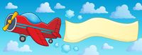 Retro airplane with banner theme 3 - picture illustration.