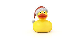 yellow rubber ducky with a christmas hat