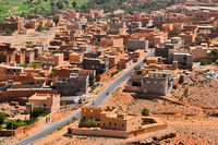 View of the city of Tinghir in Atlas Mountains region in Morocco.