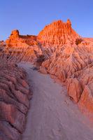 Dusk light illuminating the outback desert landforms