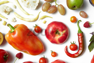 Healthy food on a white background