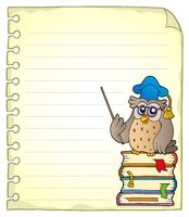 Notebook page with owl teacher 2 - picture illustration.