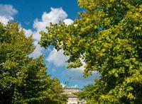 Leaves surround Brandenburg Gate in Berlin