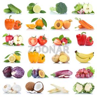 Früchte Obst und Gemüse Apfel Tomaten Orange Zitrone Knoblauch Farben Sammlung Freisteller freigestellt isoliert