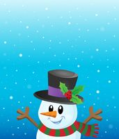 Lurking snowman in snowy weather theme 1