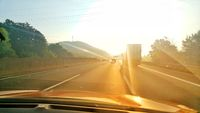 Backlight from the driving car on the A2 motorway