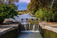 Canal du Midi Schleuse - Canal du Midi water lock in France