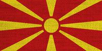 Fahne von Mazedonien auf altem Leinen - Flag of Macedonia on old linen