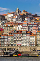Old town of Porto with river and boat, Portugal