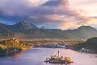 Lake Bled and its island at sunrise