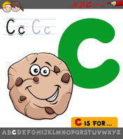 letter c with cartoon cookie sweet