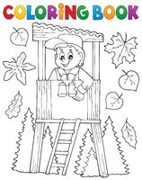 Coloring book forester theme 1