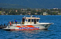 Speedboat JT-702 Nérée of the lake brigade on Lake Geneva, Gland, Switzerland