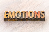 emotions word abstract in wood type