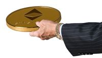 Businessman hand offering Ethereum to trade