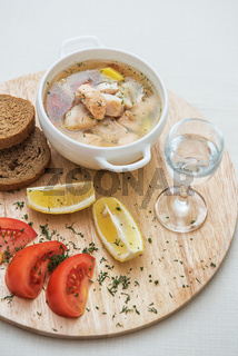 Russian traditional fish soup