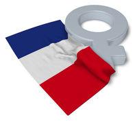 symbol für weiblich und flagge von frankreich - 3d illustration