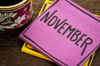 November reminder note with coffee