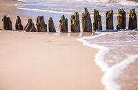 Old wooden breakwaters