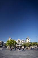 Port vell landmark catalan building in barcelona port area spain