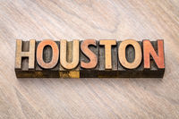 Houston in vintage wood type