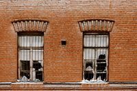 Two broken windows of old plant