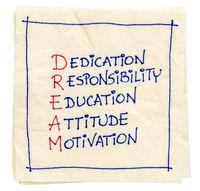 dream acronym on a napkin