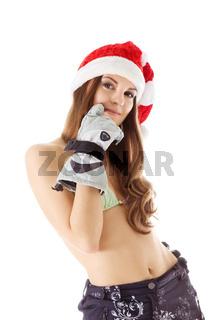 beauty woman in santa hat bikini shot