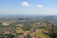 Typical sunny summer landscape of rural northern Italy from height of bird's flight.
