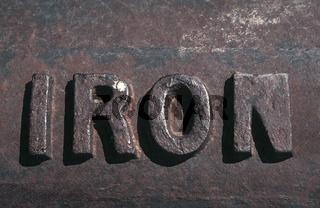 Eisen, Iron (Schriftzug)