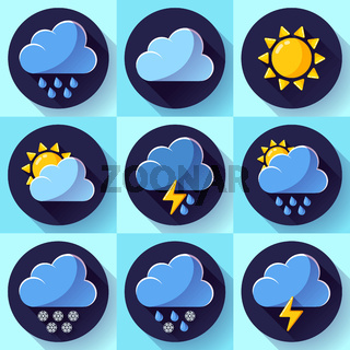 Vector flat color weather meteorology icons set with long shadow