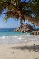 Tropical beach on La Digue