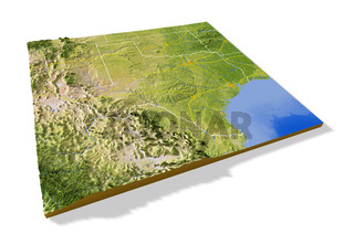 Texas, 3D relief map.